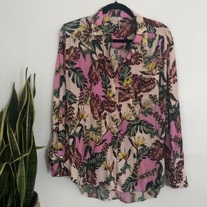 Free people floral button down blouse